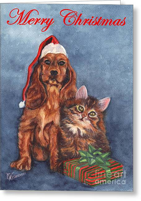 Painted Puppies Drawings Greeting Cards - Dog and Cat Merry Christmas   Greeting Card by Carol Wisniewski