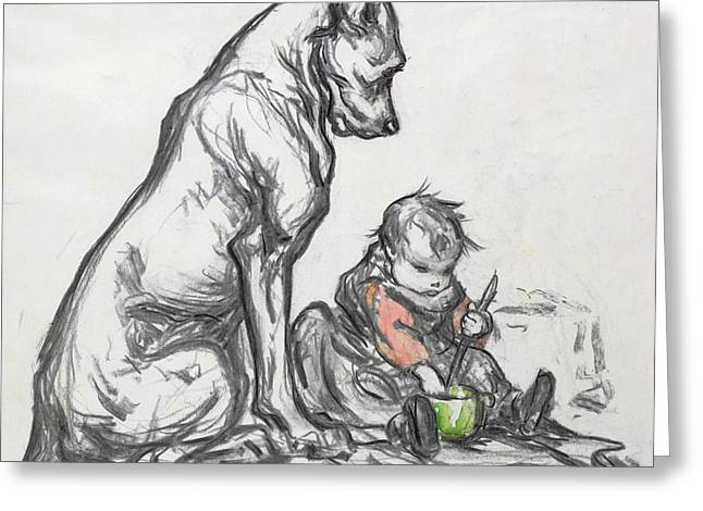 Baby Animal Drawings Greeting Cards - Dog and Child Greeting Card by Robert Noir