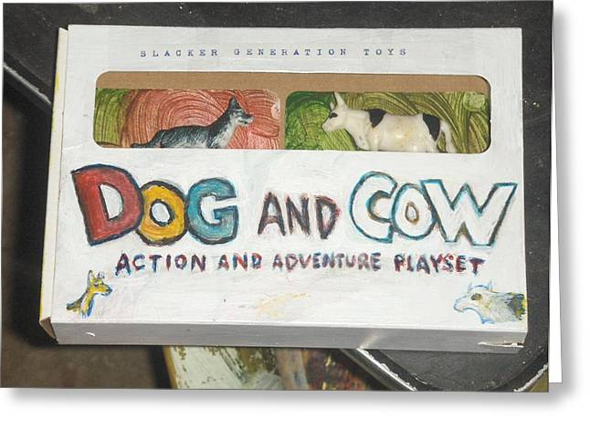 Toy Dogs Mixed Media Greeting Cards - Dog and Cow Action and Adventure Playset Greeting Card by David Lovins