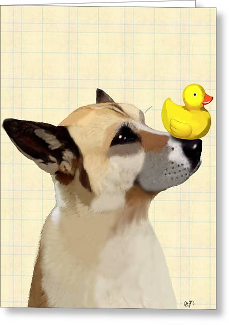Canine Framed Prints Digital Art Greeting Cards - Dog and Duck Greeting Card by Kelly McLaughlan