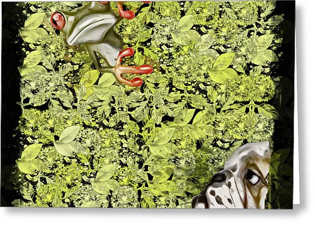 Off-white Greeting Cards - Dog and Frog - 01f04a2g Greeting Card by Variance Collections