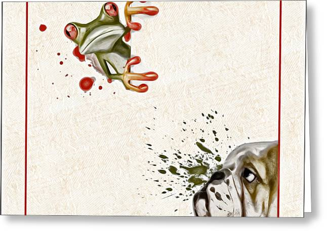 Off-white Greeting Cards - Dog and Frog - 01fat2 Greeting Card by Variance Collections