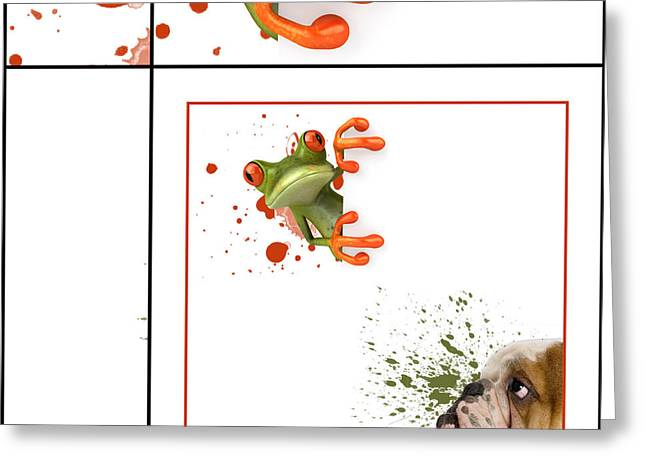 Off-white Greeting Cards - Dog and Frog - 01fr03 Greeting Card by Variance Collections
