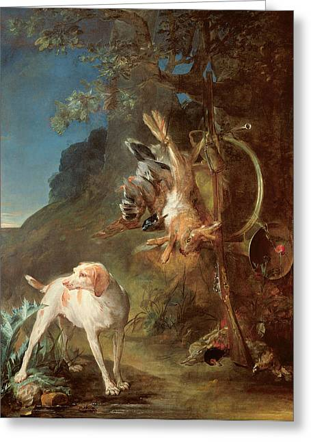 Hare Photographs Greeting Cards - Dog And Game, 1730 Oil On Canvas Greeting Card by Jean-Baptiste Simeon Chardin