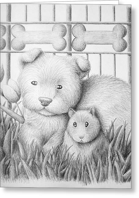 Hamster Drawings Greeting Cards - Dog and Hamster Greeting Card by Jeanette K