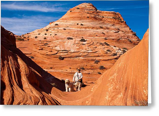 Geobob Greeting Cards - Dog and Hiker Coyote Buttes Arizona and Utah Greeting Card by Robert Ford