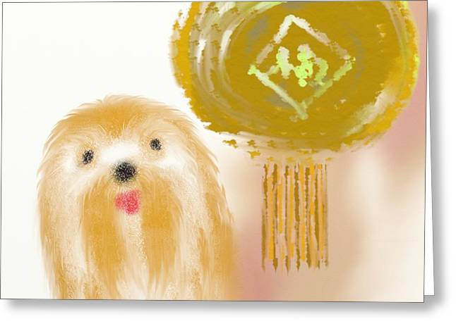 Toy Dogs Mixed Media Greeting Cards - Dog and lantern Greeting Card by Len YewHeng