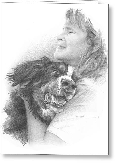Dog Owner Drawings Greeting Cards - Dog And Owner Pencil Portrait Greeting Card by Mike Theuer