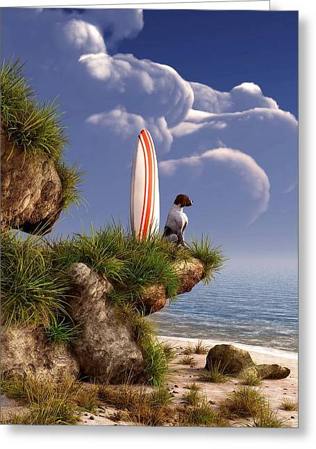 Surf Art Digital Art Greeting Cards - Dog and Surfboard Greeting Card by Daniel Eskridge