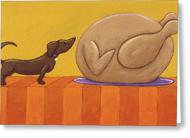 Dog And Turkey Greeting Card by Christy Beckwith