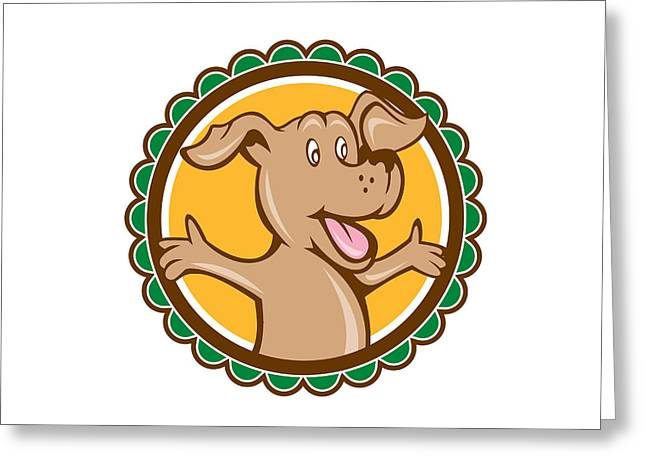 Rosette Greeting Cards - Dog Arms Out Rosette Cartoon Greeting Card by Aloysius Patrimonio