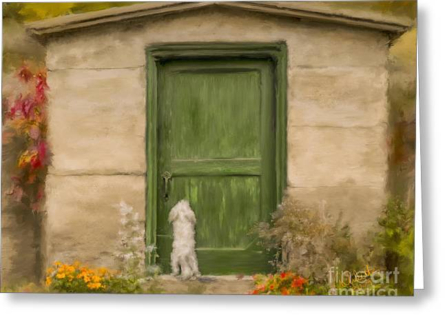 Puppies Mixed Media Greeting Cards - Dog at the Door Greeting Card by Andrea Auletta