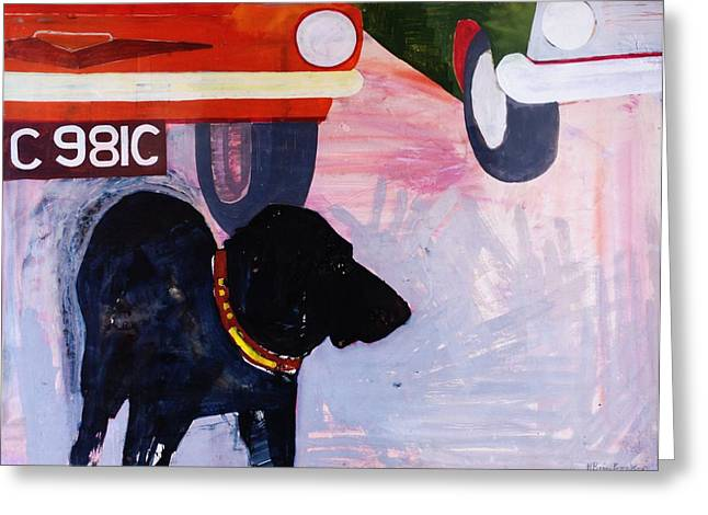 Black Greeting Cards - Dog At The Used Car Lot, Rex With Orange Car Gouache On Paper Greeting Card by Brenda Brin Booker