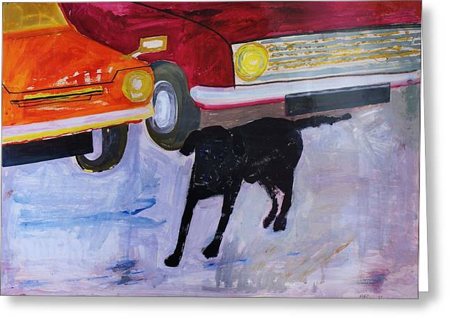 Black Greeting Cards - Dog At The Used Car Lot, Rex With Red Car Gouache On Paper Greeting Card by Brenda Brin Booker