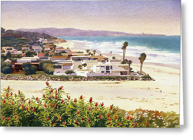 Beach House Paintings Greeting Cards - Dog Beach Del Mar Greeting Card by Mary Helmreich