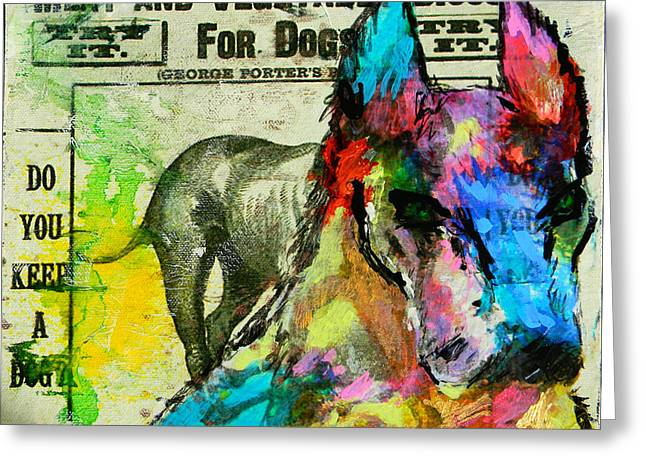 Puppies Mixed Media Greeting Cards - Dane Greeting Card by Lisa McKinney
