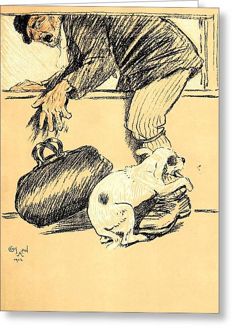Aldin Greeting Cards - Dog Biting A Burglar - A Dog Day Collection 1 of 27 Greeting Card by Cecil Aldin