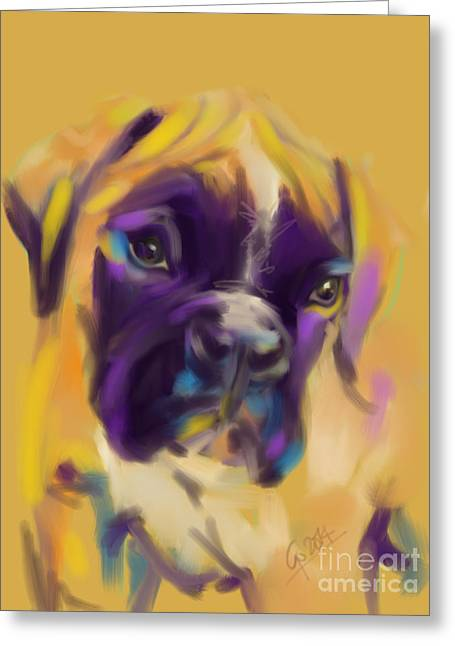 Boxer Abstract Art Greeting Cards - Dog boxer Bobby Greeting Card by Go Van Kampen
