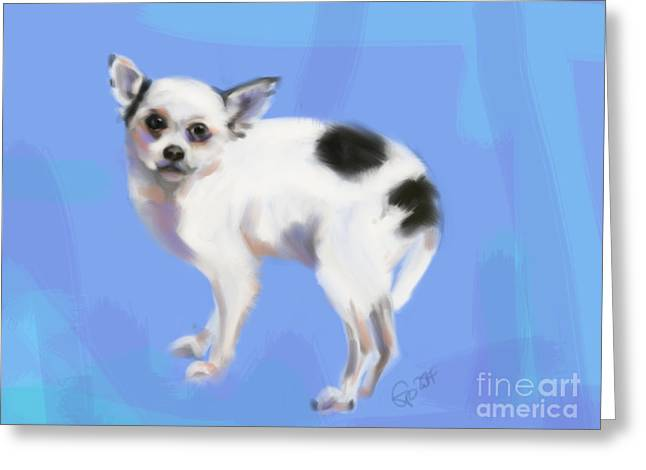 Chihuahua Greeting Cards - Dog Chihuahua Blue Greeting Card by Go Van Kampen
