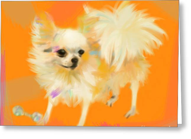 Dog Greeting Cards - Dog Chihuahua Orange Greeting Card by Go Van Kampen