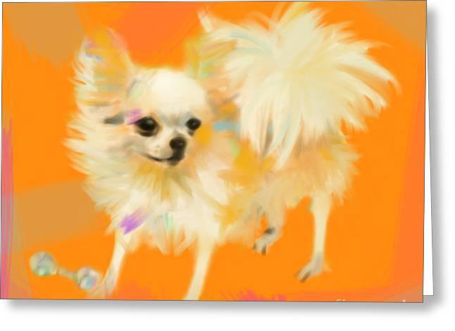 Dog Chihuahua Orange Greeting Card by Go Van Kampen