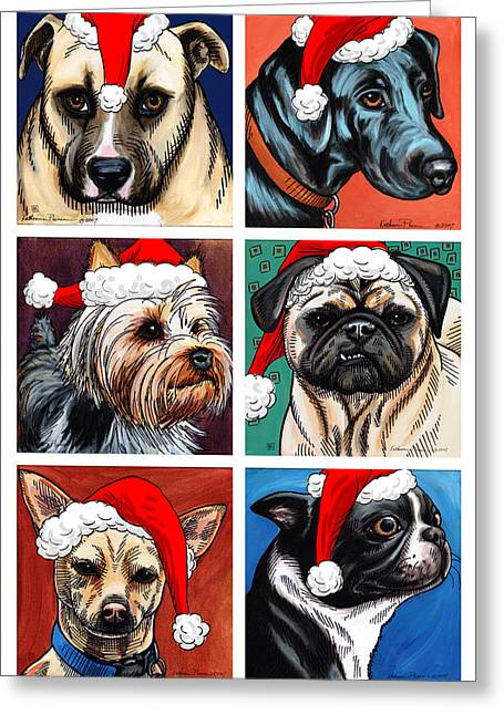 Terrier Digital Greeting Cards - Dog Christmas Card Greeting Card by Katherine Plumer