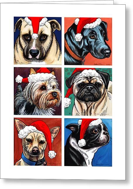Dog Christmas Card Greeting Card by Katherine Plumer