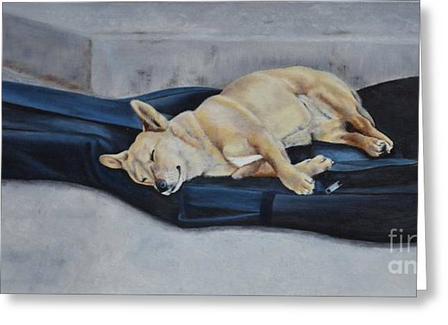 Chello Greeting Cards - Dog Day Afternoon Greeting Card by Mary Rogers