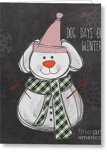 Snowman Christmas Card Greeting Cards - Dog Days  Greeting Card by Linda Woods