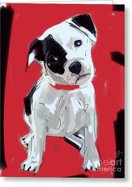 Dogs Greeting Cards - Dog Doggie Red Greeting Card by Go Van Kampen