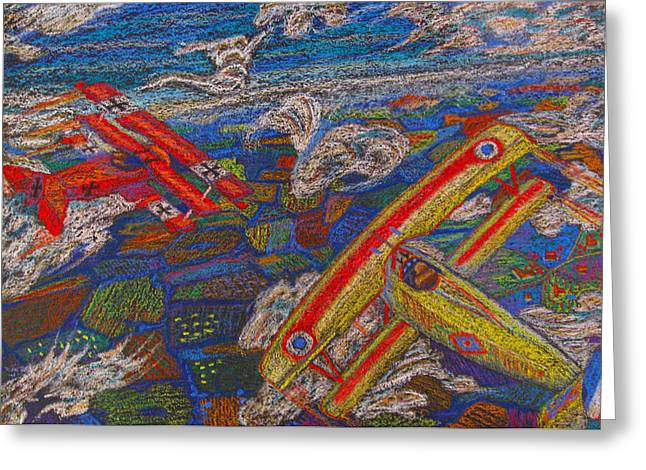 Airplane Pastels Greeting Cards - Dog Fight Greeting Card by Jesse Colton
