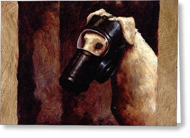 Yellow Dog Greeting Cards - Dog Gas Mask Greeting Card by Mark Zelmer