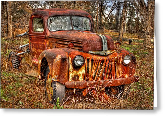 Watch Dog Greeting Cards - Dog Gone Old Rusty Ford Truck Greeting Card by Reid Callaway