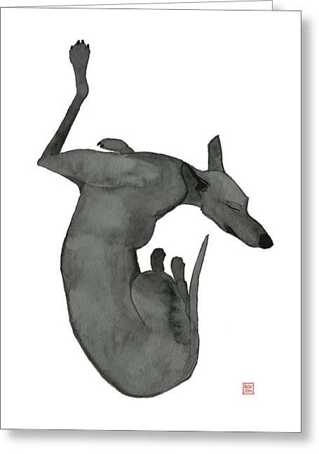 Greyhound Dog Greeting Cards - Sleep Greeting Card by Richard Williamson