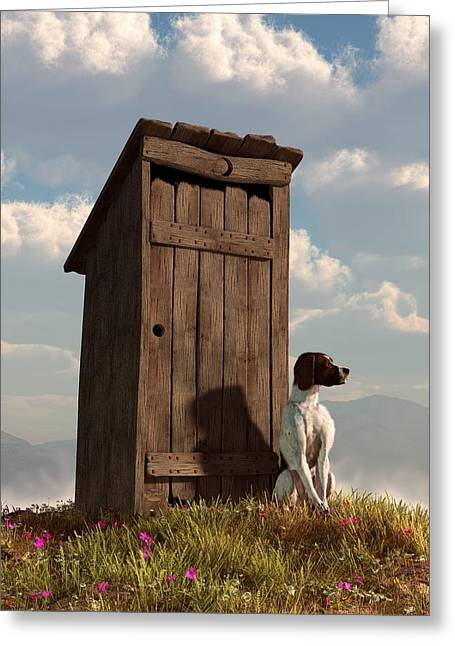 Guard Dog Greeting Cards - Dog Guarding An Outhouse Greeting Card by Daniel Eskridge