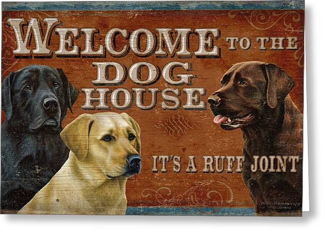 Labrador Retrievers Greeting Cards - Dog House Greeting Card by JQ Licensing