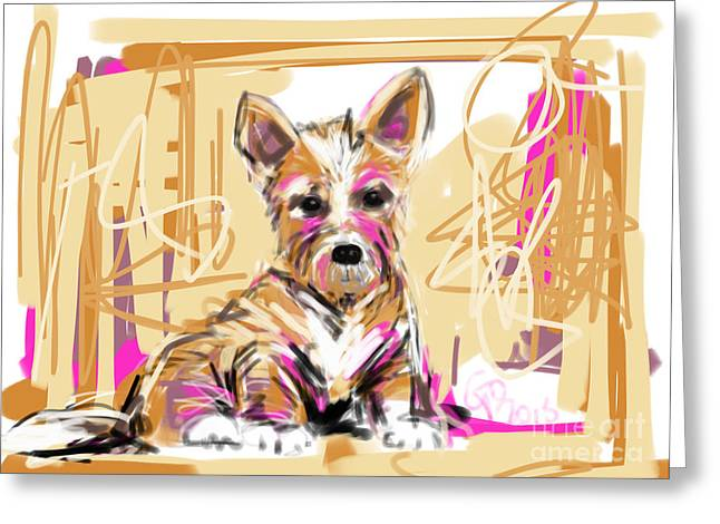 Visual Art Greeting Cards - dog I did not make this mess Greeting Card by Go Van Kampen