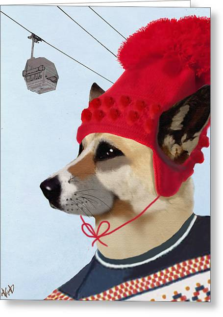Ski Art Greeting Cards - Dog in a Ski Jumper Greeting Card by Kelly McLaughlan