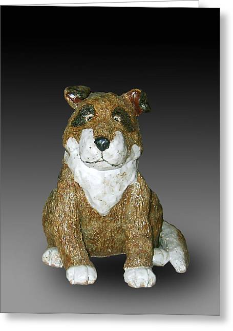 Puppies Ceramics Greeting Cards - Dog Greeting Card by Jeanette K