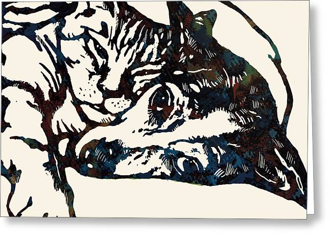 Dog Sketch Greeting Cards - Dog love with cat stylised pop art sketch poster Greeting Card by Kim Wang