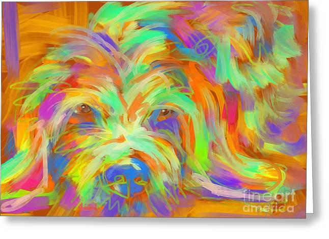 Modern Art Greeting Cards - Dog Matze Greeting Card by Go Van Kampen