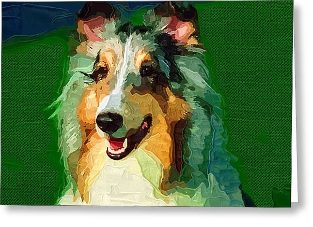 One Animal Paintings Greeting Cards - Dog on Green Greeting Card by Victor Gladkiy