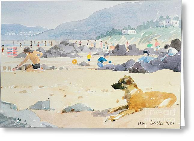 Sandcastle Greeting Cards - Dog on the Beach Woolacombe Greeting Card by Lucy Willis