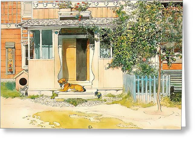 Doghouse Greeting Cards - Dog on the Front Step Greeting Card by Larsson