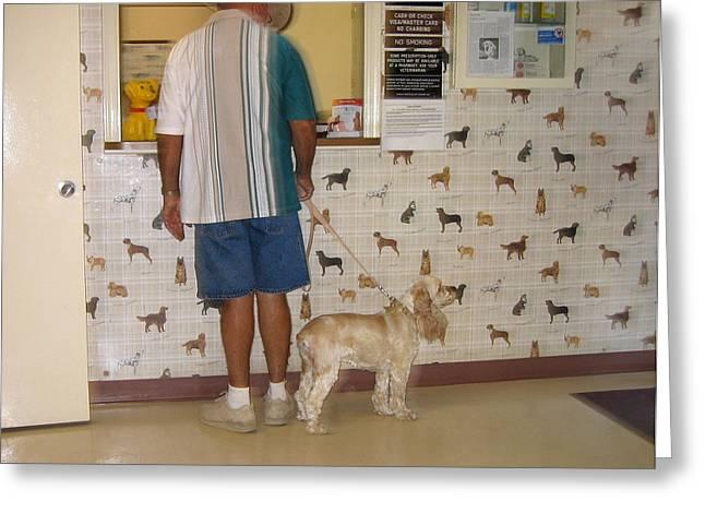 Dog owner dog vet's office Casa Grande Arizona 2004 Greeting Card by David Lee Guss