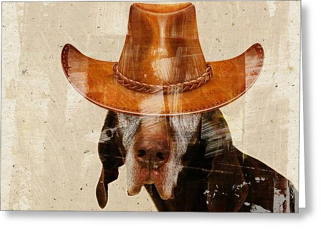 Personality Greeting Cards - Dog Personalities 01 Cow-Boy Greeting Card by Variance Collections
