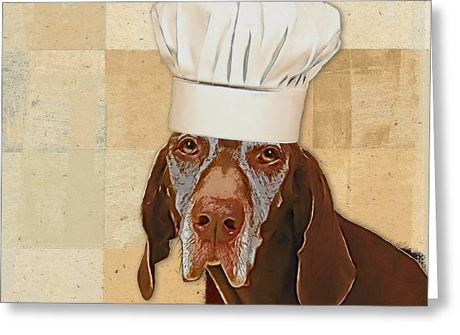 Square Format Greeting Cards - Dog Personalities 56 Chef Greeting Card by Variance Collections