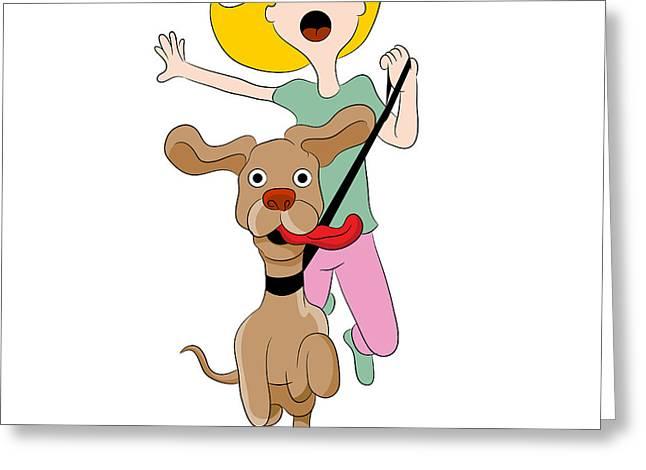 Losing Control Greeting Cards - Dog Pulling Woman Greeting Card by John Takai
