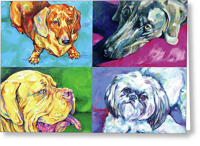 Vivid Colour Paintings Greeting Cards - Dog quartet Greeting Card by Derrick Higgins