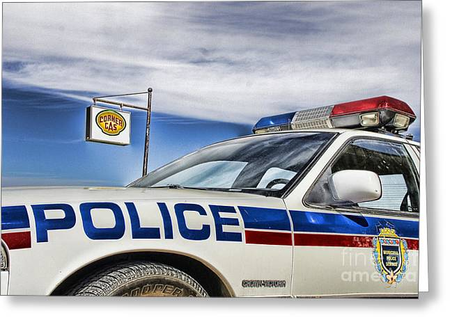 Police Cruiser Greeting Cards - Dog River Police Car Greeting Card by Nicholas Kokil